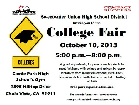 Sweetwater High Counseling Center August 2013 College Fair Flyer Template