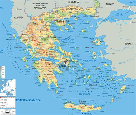 physical map  greece    islands greece