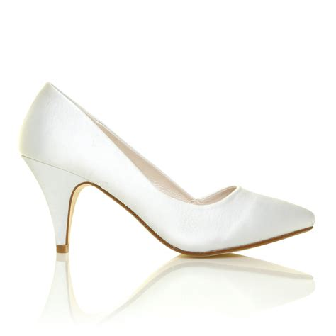 white satin shoes new womens ivory white satin mid heel bridal wedding