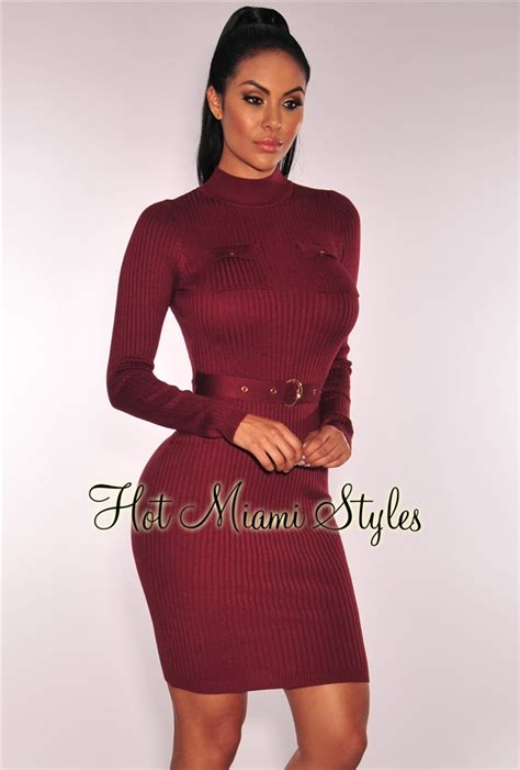 Sleeve Ribbed Knit Dress maroon knit ribbed sleeves belted dress