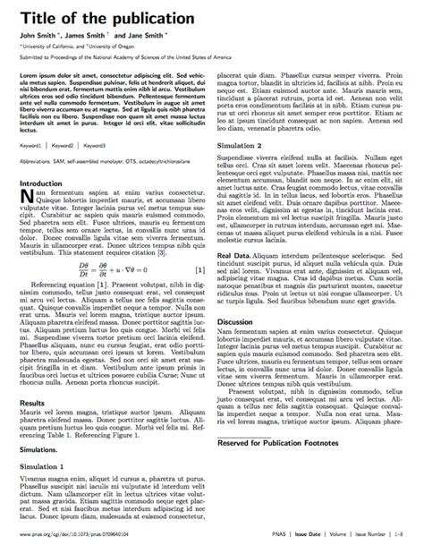 journal article layout template latex templates 187 pnas journal