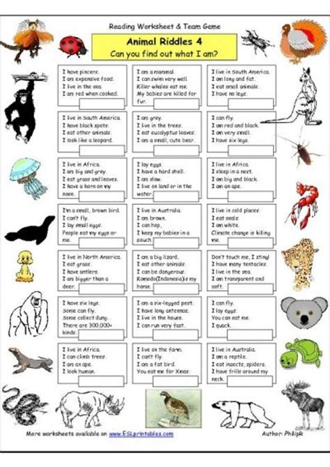 printable animal riddles riddle worksheet animal riddles 4 more difficult