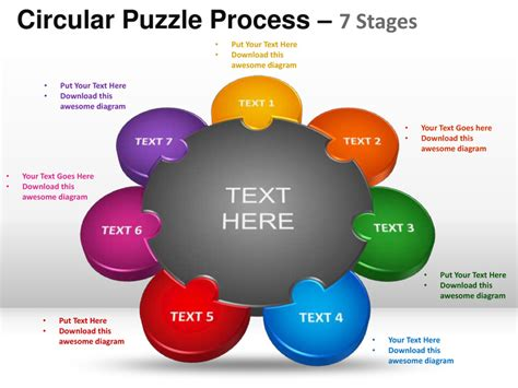 puzzle powerpoint template 7 stages circular puzzle process powerpoint templates