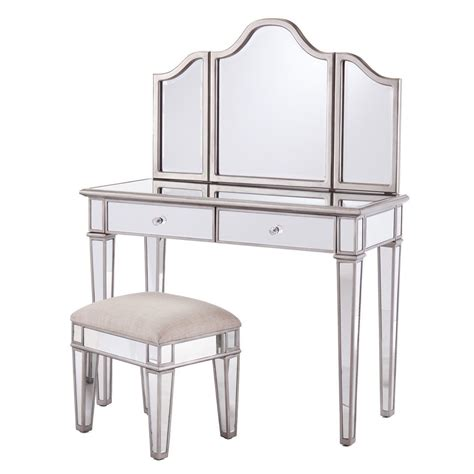 mirrored dressing table stool and freestanding mirror