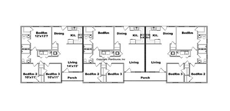 triplex floor plans triplex plan j1031 t 12 plansource inc