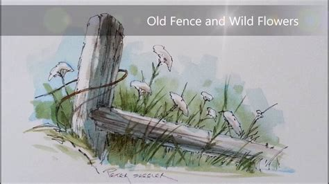 watercolor wash tutorial pen and wash watercolor tutorial of a fence post and