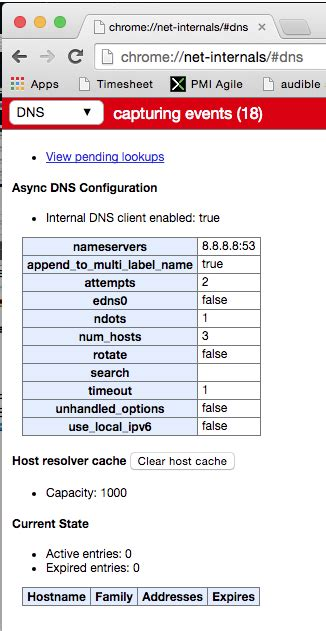 chrome dns cache chrome has dns cache