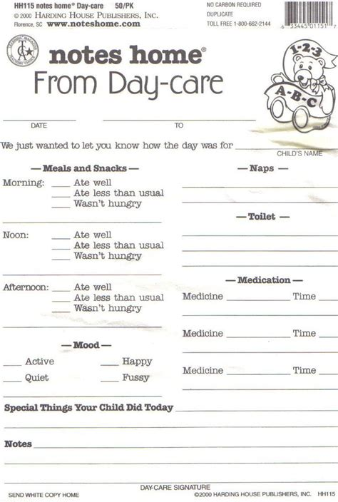daycare daily report template daycare daily report sheets infant reports for printable