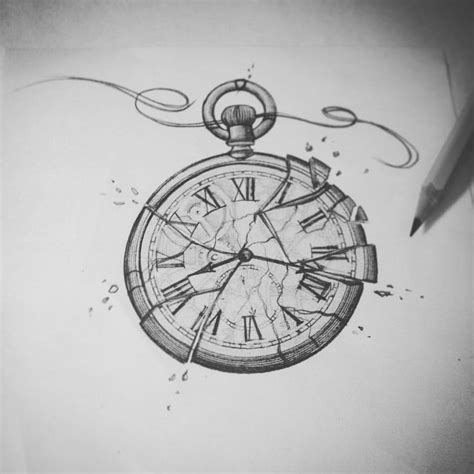 collection of 25 broken clock and roses tattoos sketch