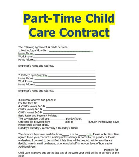 Child Care Contract Word Doc Sle Contracts Contract Templates Business Contracts Child Care Contract Template Free
