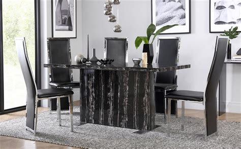 Black Marble Dining Table And Chairs Magnus Black Marble Dining Table With 6 Celeste Black Chairs Only 163 499 99 Furniture Choice