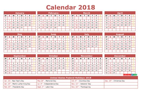 printable calendar 2018 by week 12 month calendar 2018 with holidays printable 3