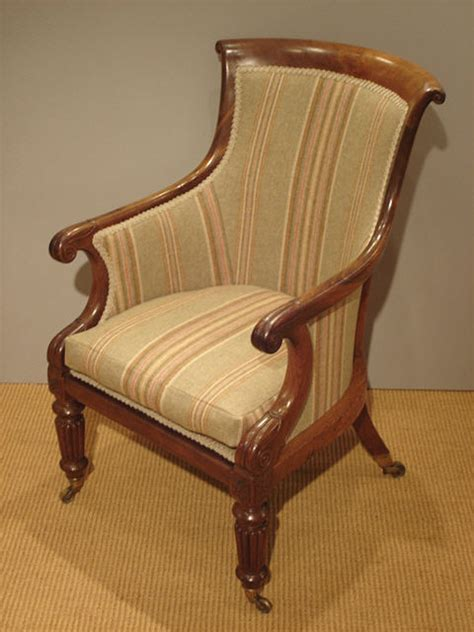 Antique mahogany library chair : Antique Armchair UK