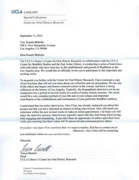 Acceptance Letter For Ucla Kusala Bhikshu Home Page