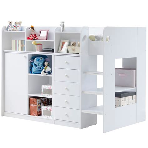 High Sleeper Storage Bed by Wizard High Sleeper Storage Bed In White Beds