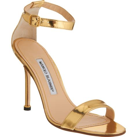 manolo blahnik sandals manolo blahnik s chaos ankle sandals in gold