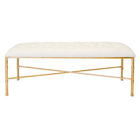 stella bamboo leg bench with white vinyl tufted cushion