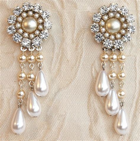 Bridal Chandelier Earrings Rhinestone Victorian Silver Chandelier Pearl Earrings For Wedding