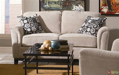 Chenille Living Room Furniture Carver Chenille Fabric Living Room Sofa And Loveseat Set Neutral Color