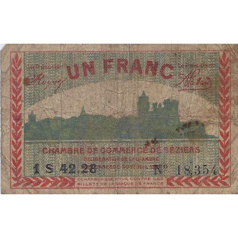 chambre des commerces beziers 34 beziers chambre de commerce 1 franc 1921 tres beau