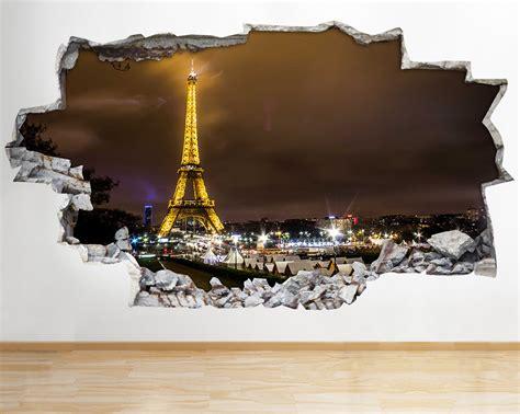 3d Sticker Paris by Paris Night Eiffel Tower Wall Vinyl Poster Room Wall Decal