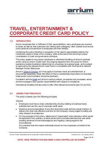 Business Credit Card Use Policy Template by Corporate Credit Card Policy Guidelines Infocard Co