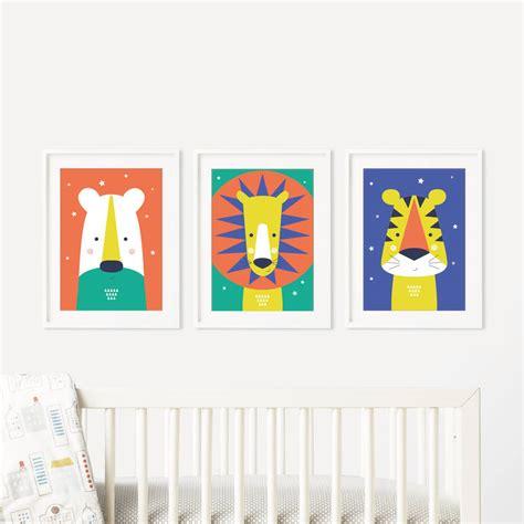 Modern Nursery Wall Decor Animal Bright Modern Baby Nursery Wall Trio By Paper Notonthehighstreet