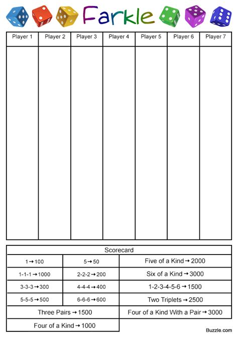 printable score sheets for card games farkle rules template gaming and yard games