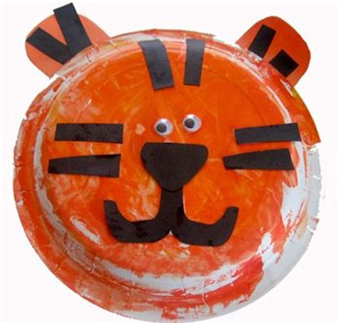 Tiger Paper Plate Craft - tiger paper plate craft animals our