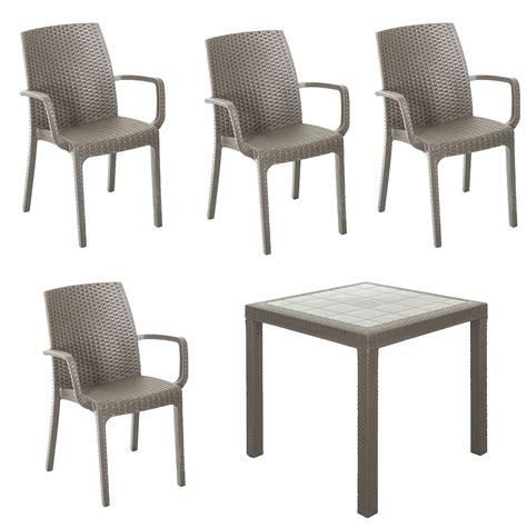 sedie braccioli set resina giardino tavolo da esterno quadrato 80x80