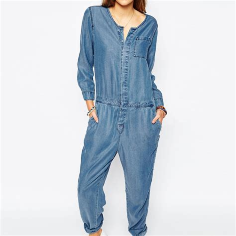 Jumpsuit Panjang Wanita lengan panjang wanita kausal jins jumpsuit musim semi baru pakaian fashion untuk wanita celana