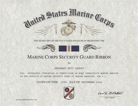 marine corps security guard ribbon certificate