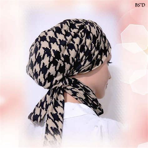 fitted scarf sinar style brown houndstooth modest anytime