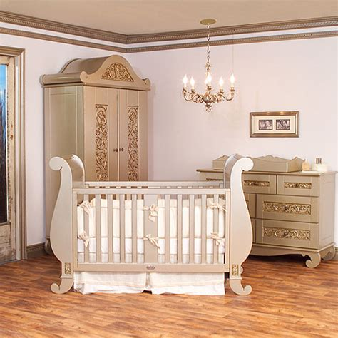 chelsea sleigh crib in antique silver and nursery