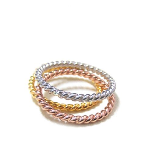 set of three tone 2 3mm twisted sterling silver stackable