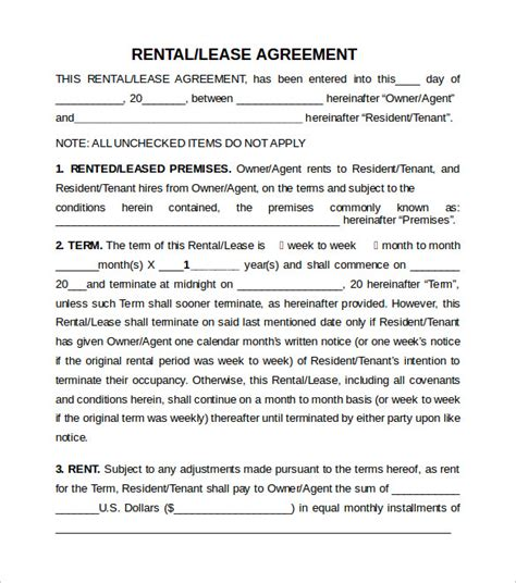 10 Sle Rental Lease Agreement Templates Sle Templates Tenant Lease Agreement Template