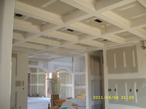 coffered ceiling with beaded raised inner panel bedroom coffered ceilings using bullnose corner bead drywall