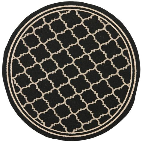 Safavieh Courtyard Black Beige 4 Ft X 4 Ft Indoor 4 Ft Area Rugs