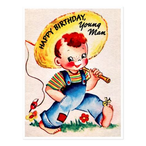 Happy Birthday Card For Younger Young Man Retro Happy Birthday Zazzle