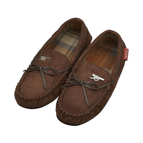 mens moccasin house shoes arsenal mens bow moccasin slippers official online store