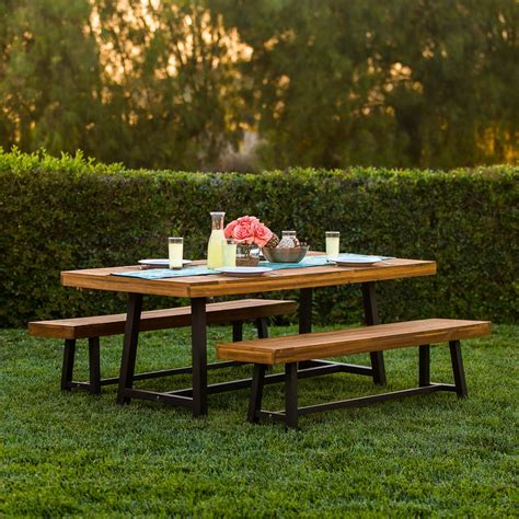 style dining table best choice products 3 acacia wood picnic style