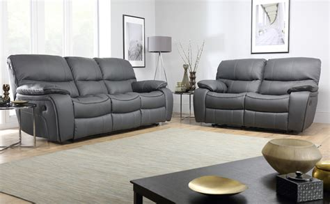 gray sectional sofa with recliner beaumont grey leather recliner sofa range ebay
