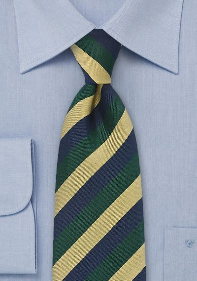xl length regimental tie in navy green and gold