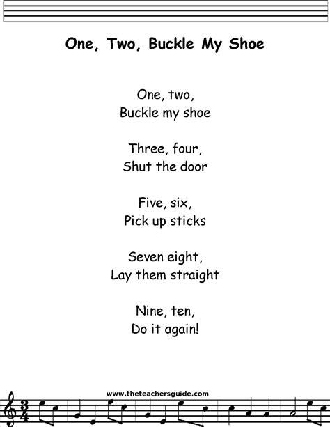 One Two Buckle My Shoe Lyrics, Printout, MIDI, and Video