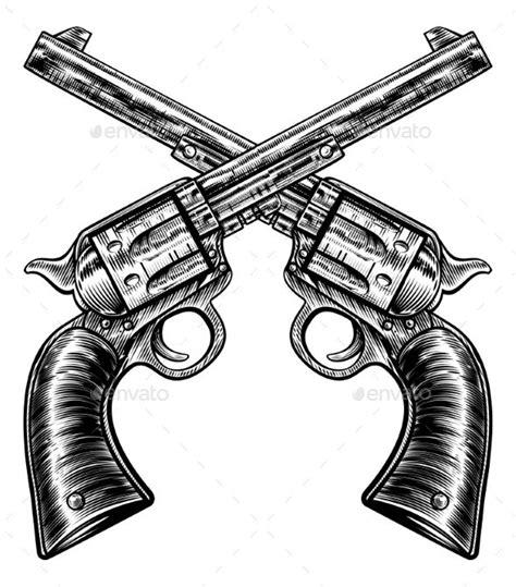 crossed revolvers tattoo crossed pistol gun revolvers vintage woodcut style