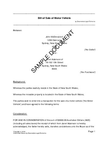 sle invoice nsw bill of sale australia legal templates agreements