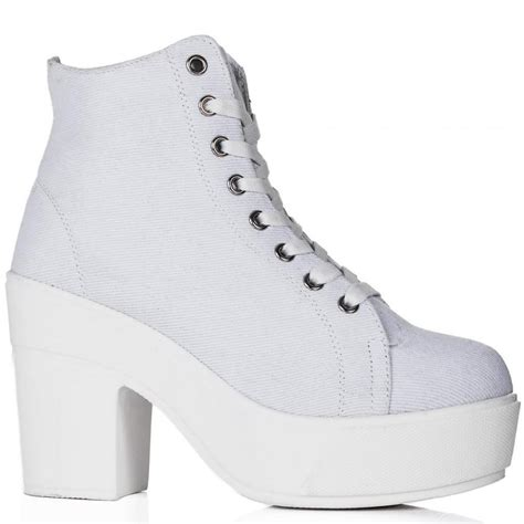 buy lived chunky heel platform ankle boots white