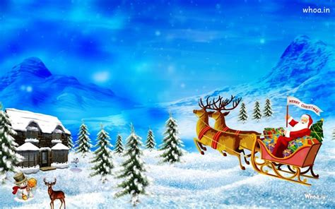 santa claus ride sleigh  white snow background hd wallpaper