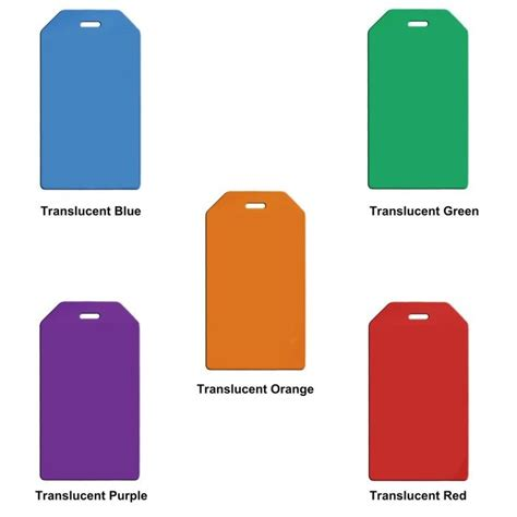 translucent color custom printed oversized translucent colors luggage tag