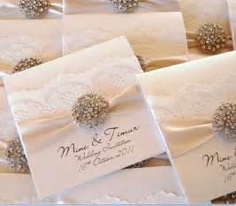 Scroll Wedding Invitations Elegant Ivory Lace Wedding Invitations Embellished With Rhinestone Brooch